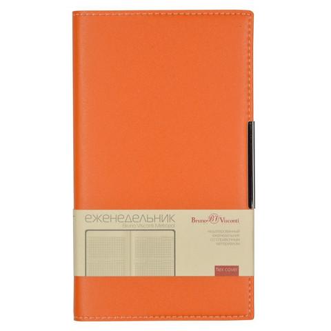 Еженедельник недатированный Bruno Visconti Metropol искусственная кожа А6 80 листов оранжевый (102x177 мм)
