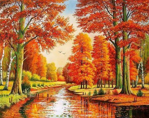 Картина раскраска по номерам 50x65 Осенняя оранжевая природа
