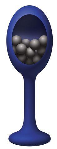 Синяя анальная пробка с шариками внутри Rattler - 12,7 см.