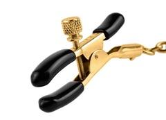 Чёрные с золотом зажимы на соски Gold Chain Nipple Clamps