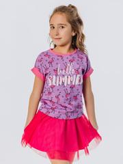 Футболка для девочки сиреневая с принтом фламинго купить
