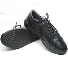 Модные мужские кеды кроссовки кожаные черные весна осень Ikoc 1725-1 Black.