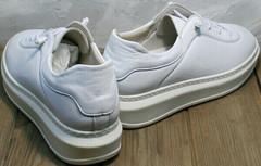 Низкие кеды женские белые кожаные Rozen M-520 All White.