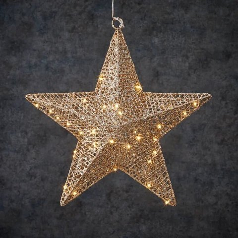 Подвесная объемная звезда шампань на батарейках