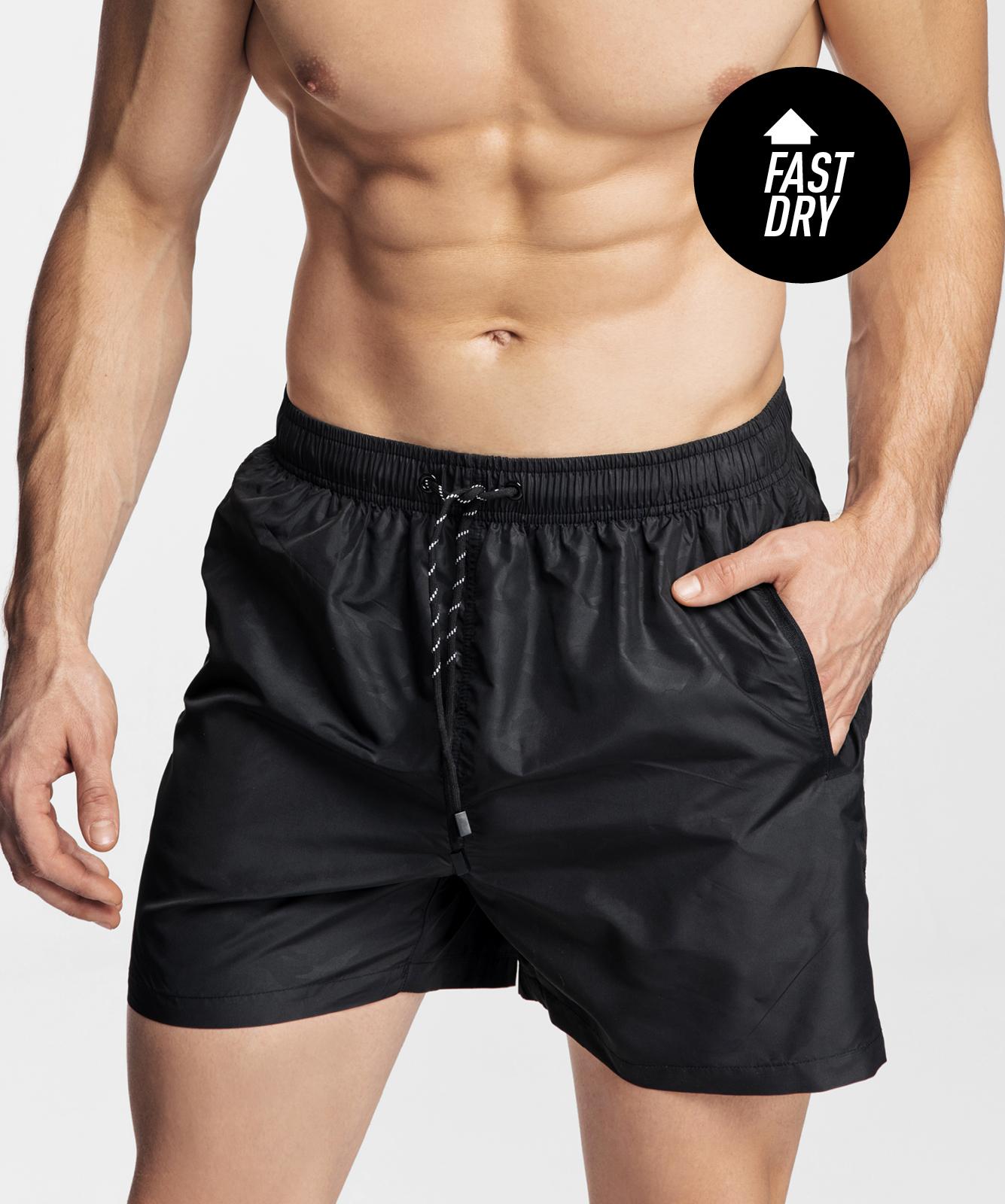 Пляжные шорты мужские Atlantic, 1 шт. в уп., полиэстер, черные, KMB-198