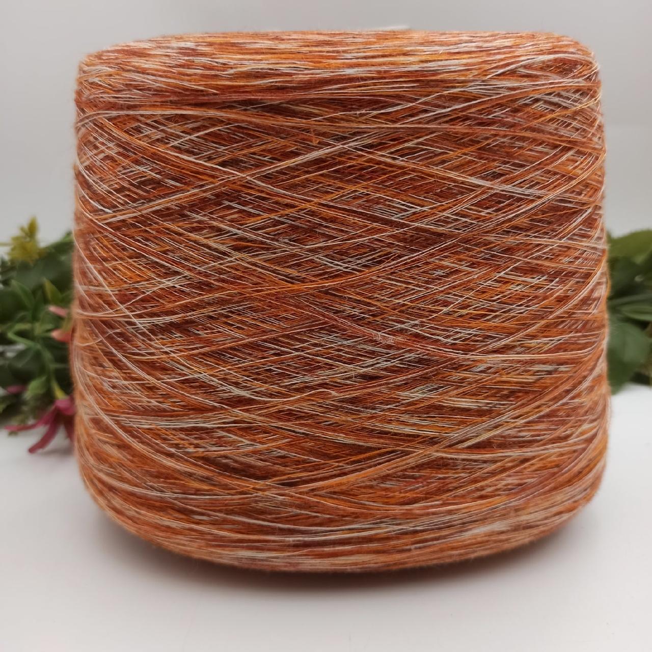 Бобинная пряжа 100% лен окрашен короткими секциями оранжевый