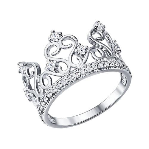 Серебряное кольцо в виде короны с фианитами