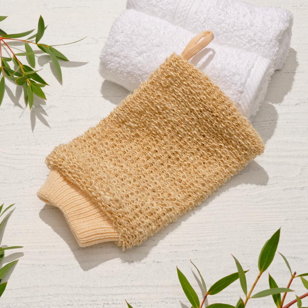 Gloys мочалка-рукавица массажная из натурального волокна (гибискуса коноплевого)