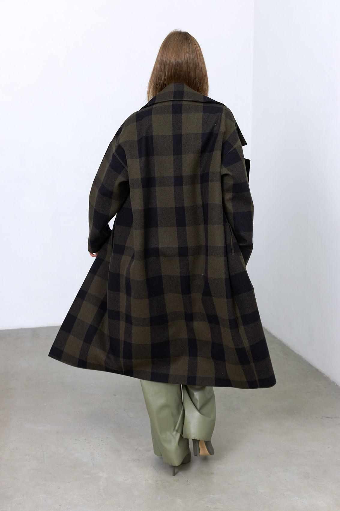 Пальто с большим лацканом, хакки клетка