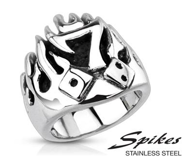 R-Q3993 Мужской стальной перстень «Spikes» с семёркой