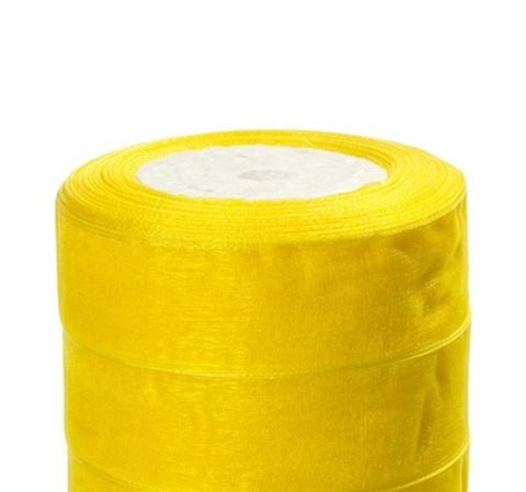 Лента органза (размер:25мм х 25 ярдов) Цвет: лимонный