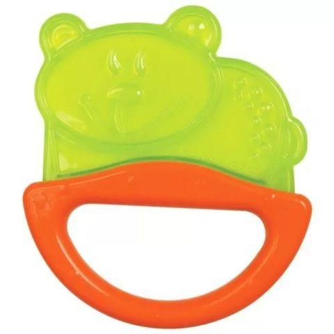 Погремушка с эластичным прорезывателем, 0+ (зеленый, форма: мишка)