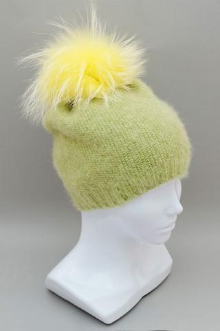 Шапочка бини с жёлтым помпоном, ц. Жёлто-зеленый, р. One size
