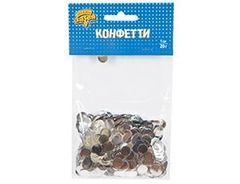Конфетти Круги фольг серебро 1 см, 20 гр, 1 уп.