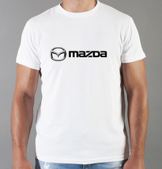 Футболка с принтом Мазда (Mazda) белая 003