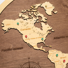 Карта Мира из дерева в овальной рамке Brown фото 3