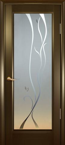 Дверь Новая волна Р стекло белое (венге, остекленная шпонированная), фабрика Океан