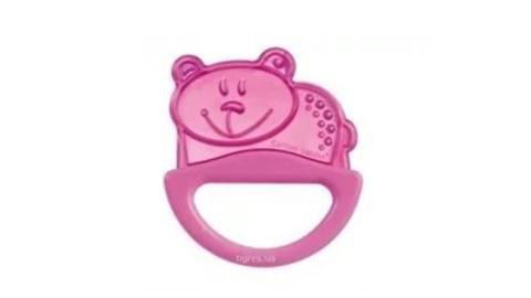 Погремушка с эластичным прорезывателем, 0+ (розовый, форма: мишка)