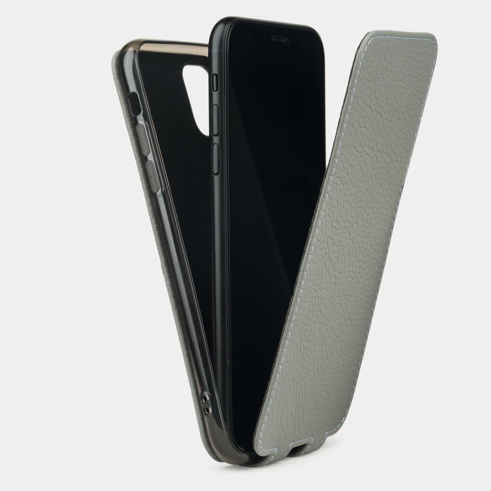 Чехол для iPhone 11 из натуральной кожи теленка, стального цвета