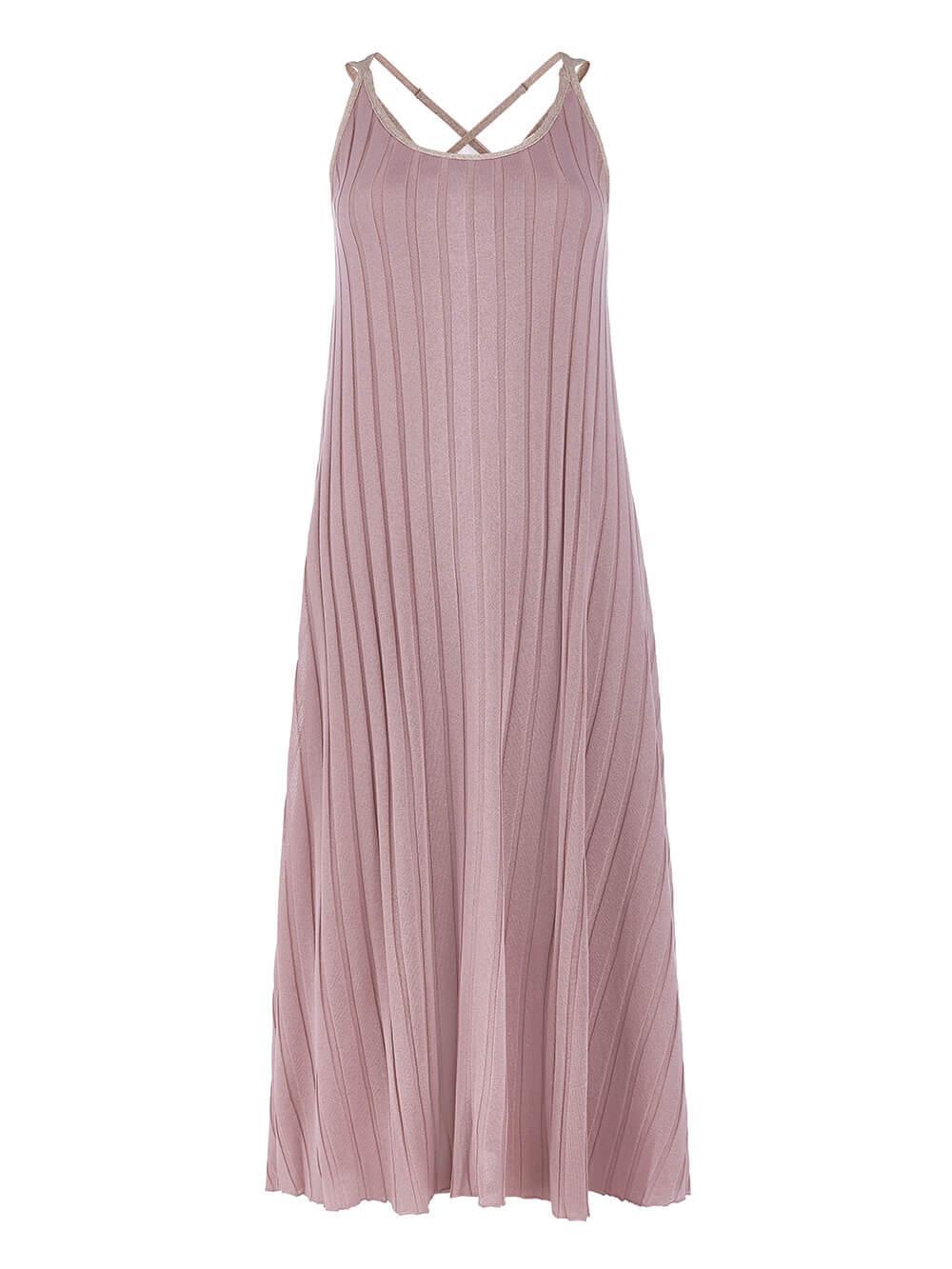Женское платье светло-розового цвета из вискозы - фото 1