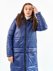 Женское пальто еврозима Макси синий