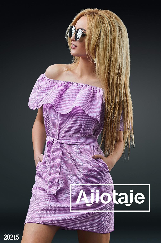 Платье мини в клеточку с открытыми плечиками