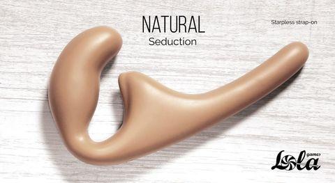 Бежевый безремневой страпон Seduction - 20,5 см.