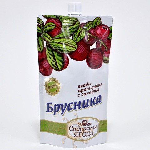 Брусника протертая с сахаром Ягода сибирская, 280г