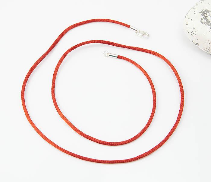 PL279-5 Красный шнурок гайтан на шею из шелка фото 02