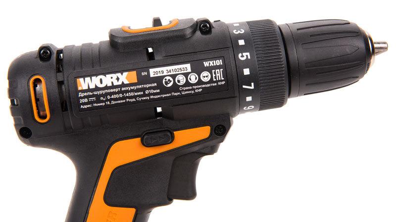 Дрель-шуруповерт аккумуляторная Worx WX101, 30Нм, 20В, АКБ x2 1,5А*ч, ЗУ 0,4А, сумка, коробка