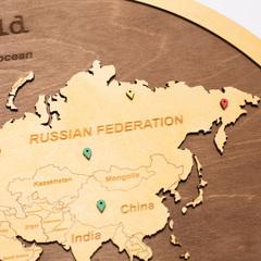 Карта Мира из дерева в овальной рамке Brown фото 5