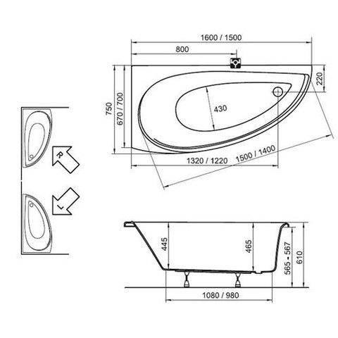 Ванна акриловая Ravak Avocado 150  150х75см. схема