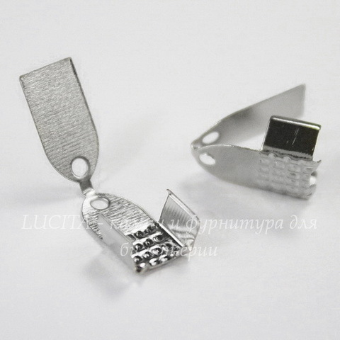 Концевик обжимной для шнура 6 мм, 11х7 мм (цвет - платина), 10 шт
