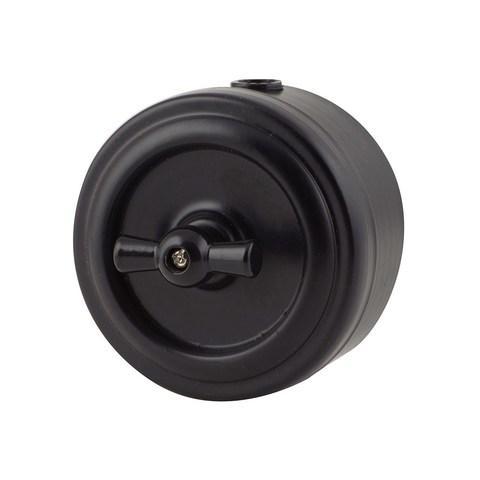 Выключатель металлический 1 клавишный/проходной (Черный)