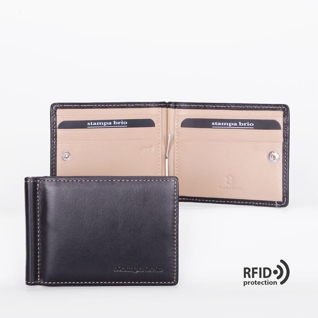 702 R - Зажим для купюр с монетником на кнопке и RFID защитой