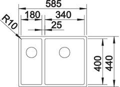Мойка Blanco Claron 340/180-IF (чаша справа) схема