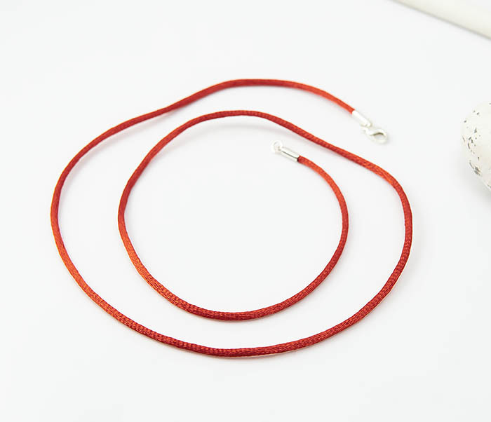 PL279-5 Красный шнурок гайтан на шею из шелка фото 04