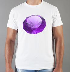Футболка с принтом Бриллиант (с бриллиантами, с камнями, diamonds) белая 0011