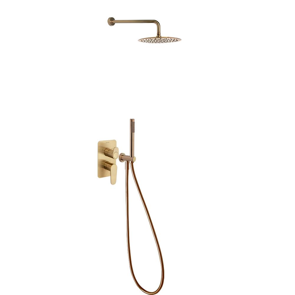 Встраиваемый смеситель для душа с душевым комплектом ALEXIA K3615021OC золотой, на 2 выхода