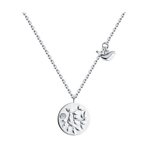 94070330 - Колье из серебра с круглой подвеской монеткой и птичкой