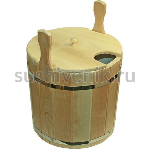 Запарник из кедра с крышкой и пластиковой вставкой, 17 л