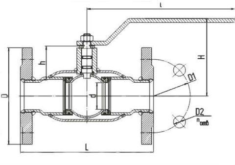 Конструкция LD КШ.Ц.Ф.GAS.050.040.П/П.02 Ду50