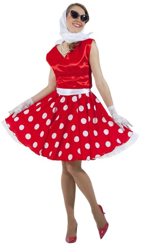 Платье Стиляга красное в горох 1