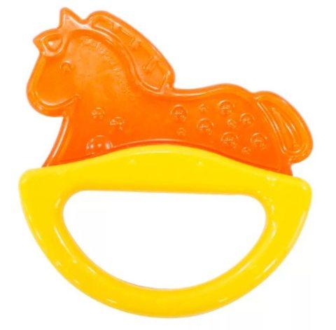 Погремушка с эластичным прорезывателем, 0+ (желтый, форма: лошадка)