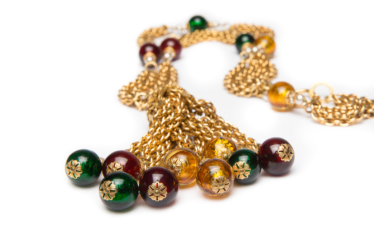 Luxurious long necklace with multicolored Murano glass, pearls and crystals by Chanel.