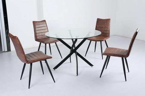 Стол PETAL D110 М-City (обеденный, кухонный, для гостиной), Материал каркаса: Металл, Цвет каркаса: Чёрный, Материал столешницы: Стекло закаленное, Цвет столешницы: Прозрачный, Цвет: Черный