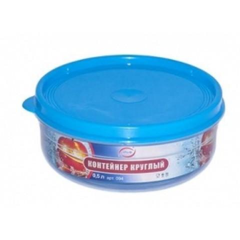 Бутербродница круглая 0,5 литра Эльфпласт контейнер для хранения еды с крышкой 13 см синий