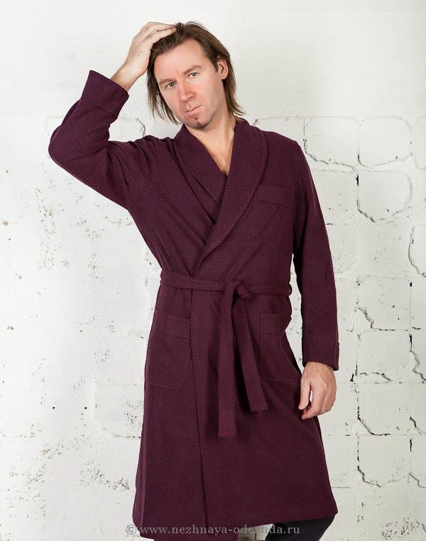 Бордовый трикотажный халат B&B
