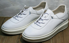 Модные белые кеды женские натуральная кожа Rozen M-520 All White.