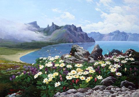 Картина раскраска по номерам 50x65 Цветы на берегу